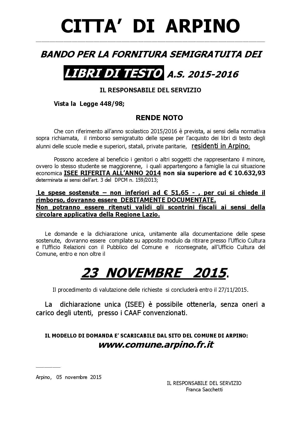 BANDO PER LA CONCESSIONE LIBRI DI TESTO