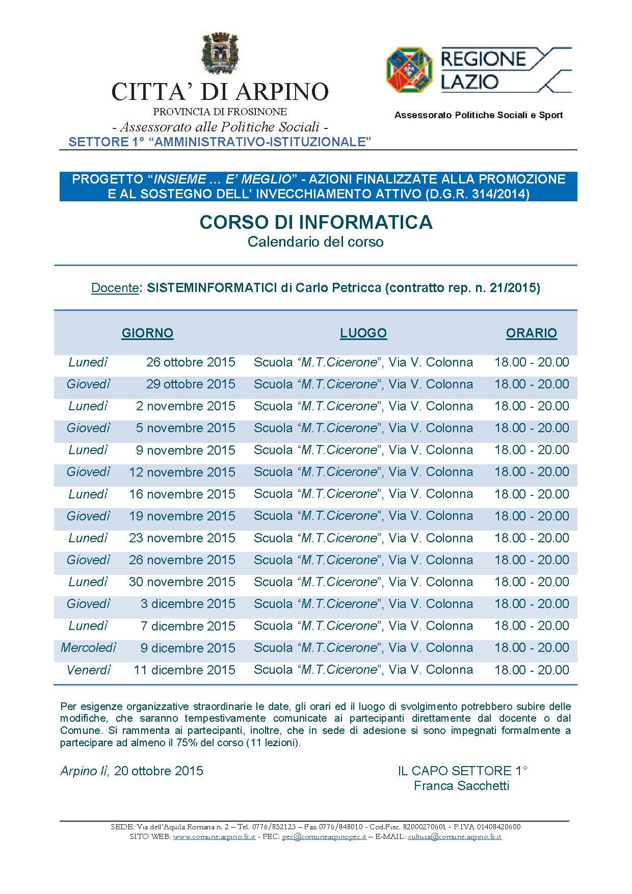 Calendario corso informatica