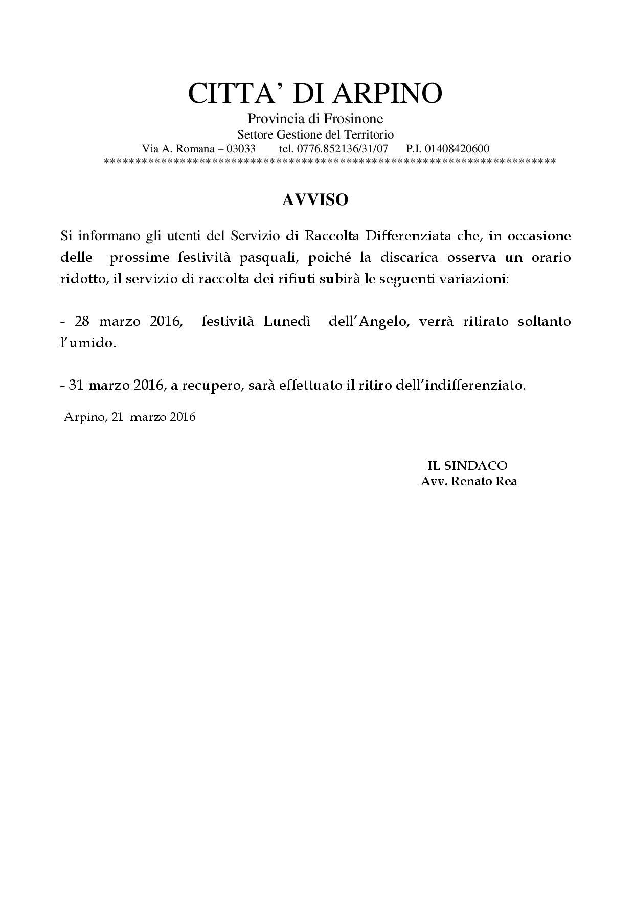 SERVIZIO TRACCOLTA DIFFERENZIATA FESTIVITA' PASQUALI